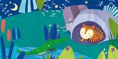 Giuditta Gaviraghi Illustration - giuditta, gaviraghi, guiditta gaviraghi,digital, traditional, commercial, picture book, picturebook, collage, colour, colourful, sweet, cute,animal, elephants, crocodile, tiger, night, night time, stars, moon, bugs, river, water, cave , plants