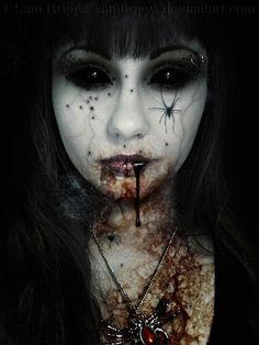 dark beauty. dark makeup. spiders