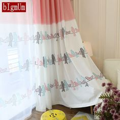 Fresh Curtains for Bedroom Window Birds for Room Pink Girl Animal Boys Home Panel Baby Kid Drapes Children Infant Floral Blinds Bird Curtains, Kids Room Curtains, Bedroom Drapes, Bedroom Windows, Cotton Curtains, Kids Bedroom, Wedding Ceiling, Home Panel, Feminine Decor