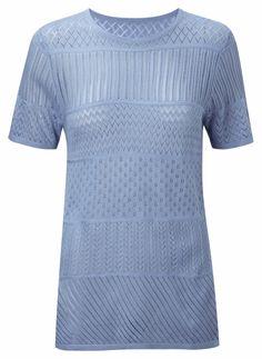 Damart stripe sweater in sky, product code W829. www.damart.co.uk