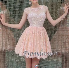 2015 cute round neck beaded pink lace chiffon modest short prom dress for teens, ball gown, junior prom dress, homecoming dress #promdress