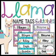 Llama Classroom Decor Name Tags - Editable: This bundle includes several different options for llama name tags. These name tags are the perfect size for desks or lockers! PDF file and Power Point file included for an editable option 10 different color Classroom Name Tags, Classroom Setup, Future Classroom, Classroom Organization, Preschool Rooms, Preschool Classroom, Preschool Crafts, Kindergarten, Classroom Freebies