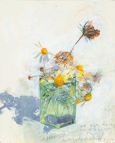 Ox-eye daisy, wild carrot and thrift, Cargodna cliff. September 2014 in KURT JACKSON from The Redfern Gallery