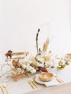 Proof that neutral doesn't have to be boring! wedding centerpiece, organic fall wedding, autumn tablescape inspiration, white spray roses, grasses, fern, Photography Sally Pinera | Floral Design Amy Nicole | Dress Shop Gossamer | Makeup & Hair Sharon Y Park | Ring Trumpet and Horn | Calligraphy Victoria Krav Wedding Table Centerpieces, Wedding Table Settings, Floral Centerpieces, Centrepieces, Once Wed, Elegant Wedding, Diy Wedding, Fall Wedding, Wedding Flowers