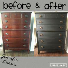 Annie Sloan graphite and dark wax. Dixie 6 drawer dresser.