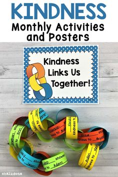 This resource is a great way to promote a positive and kind classroom throughout the entire school year! I have included nine different posters and activities that encourage the children to be kind to one another. These activities were designed for encouraging kindness in the school classroom, but they could also be used for children in church group settings or in family settings as well! #kindness #kindnesschain #ChalkDots Elementary School Counseling, School Classroom, Elementary Schools, Kindness Activities, Classroom Activities, Social Work, Social Skills, Kindness Bulletin Board, Bulletin Boards