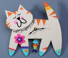 Happy Happy Cat Clock from Liane Fried Studio