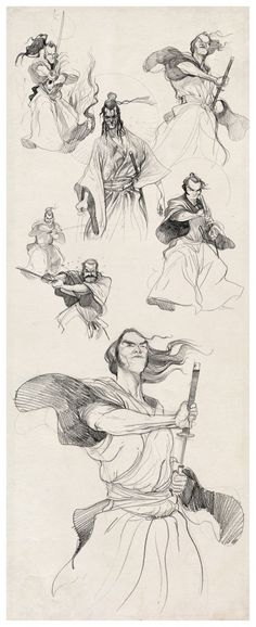 samurais-sketches-braga-diburros ★ Find more at http://www.pinterest.com/competing/ #warrior_illustration #people_illustration
