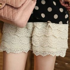 Stylish Lovely Delicate Lace Embellished Openwork Shorts For Women, APRICOT, FREE SIZE in Pants & Shorts | DressLily.com
