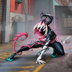 Artwork of Patrick Brown on facbook Venomized Spider-Gwen Venom Comics, Marvel Comics Art, Marvel Heroes, Marvel Characters, Spider Gwen Venom, Spider Art, Symbiotes Marvel, Marvel Drawings, Amazing Spiderman