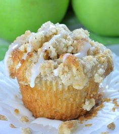 Apple Pie Muffins with Cinnamon Streusel Crumb Topping are easy and delicious fall dessert, snack or breakfast treat. Make a batch of these yummy muffins, Apple Dessert Recipes, Fall Desserts, Green Apple Recipes, Dessert Food, Apple Pie Muffins, Apple Cinnamon Muffins, Apple Pies, Pecan Pies, Streusel Topping