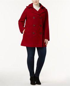 58197f3f709 Nautica Plus Size Hooded Wool-Blend Peacoat Women - Coats - Macy s