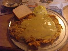 Chicken Fried Steak from Hickory Hollow - best ever! Live music, cold drinks in Mason jars, salad served from a big galvanized tub... it's all so good!