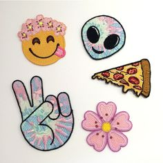 Emoji W Flower Crown Pizza Alien Peace Sign Cherry Blossom 4 11 Liked On Polyvore Featuring Home Home Decor And Wall Emoji Flower Emoji Alien Emoji