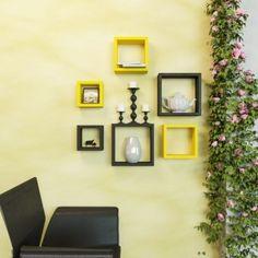 Desi Karigar Wall Mount Shelves Square Shape Set of 6 Wall Shelves - Yellow…