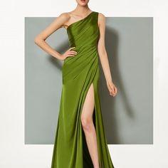 One-Shoulder Mermaid Split-Front Pleats Court Train Evening Dress Evening Dresses Online, Formal Evening Dresses, Evening Gowns, Dress Online, One Shoulder Dress Long, Shoulder Sleeve, Green Evening Dress, Buy Dress, Pink Dress
