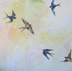 Barn Swallows - Debbie Miller, original painting by artist Debbie ...