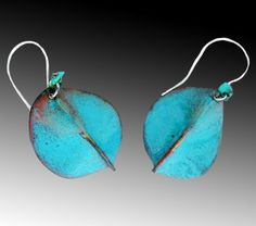 Earrings Copper Enamel Turquoise Summer Sky by Evelyn Markasky, via Etsy.