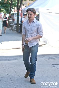 Day two, July 10, 2012, of filming, James McAvoy gets a coffee while on the set of his new movie The Disappearance of Eleanor Rigby in Noho, Manhattan. New York City, USA.