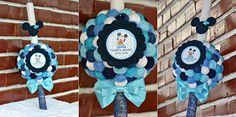 Mickey Mouse candle...Lumanare botez... Diy Crochet, Hanukkah, Mickey Mouse, Wreaths, Handmade, Decor, Hand Made, Decoration, Door Wreaths