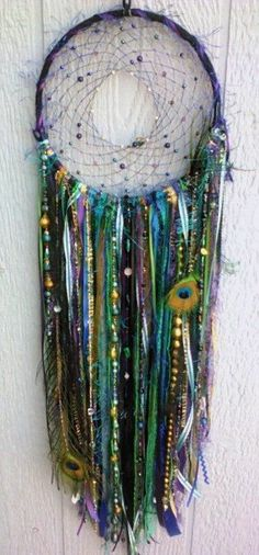 LED Peacock Dreamcatcher handmade 8 inch dream by DreamRaes