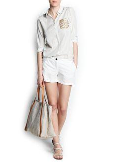 Linen cotton-blend shorts & sequined pocket striped shirt   Mango SALE