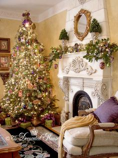 Trees from Christmas Past :: The Decorated House:  Christmas Tree with Purple & Lime Green