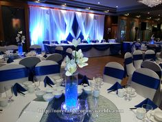 Royal blue decoration, blue and white backdrop.
