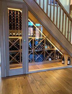 Farmhouse style diy furniture plans 24 Ideas for 2019 - Farmhouse style diy fur. Wine Rack Design, Cellar Design, Under Stairs Wine Cellar, Oak Wine Rack, Wine Racks, Home Wine Cellars, Escalier Design, Home Stairs Design, Hallway Designs