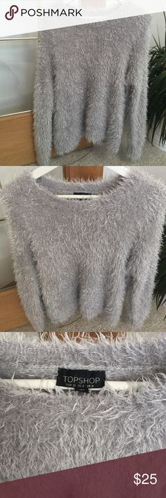 Top shop Grey Drop Shoulder Fuzzy Sweater Gently used, great condition. US size 4, perfect match with skirt or Jean. Topshop Sweaters