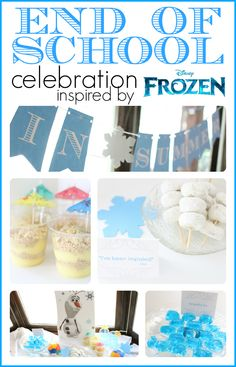 Kick off summer with this Frozen-inspired End of School Party featuring Olaf!  Includes a free printable banner and ideas for Olafs favorite snacks.