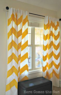 These are exactly what I want, but can't find. Ikea tomorrow!  Here Comes the Sun: Yellow Chevron Curtains