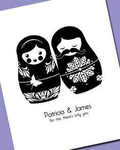 Matryoshka Couple Print for Wedding  or Anniversary (8x10) Russian Nesting Doll Babushka. $20.00, via Etsy.