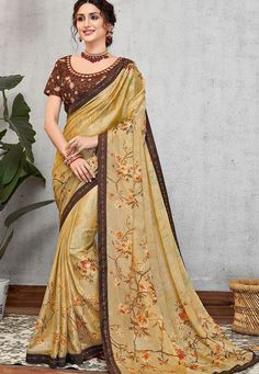 yellow silk georgette printed embroidered saree 11414 Latest Designer Sarees, Latest Sarees, Art Silk Sarees, Georgette Sarees, Trendy Sarees, Beautiful Costumes, Traditional Sarees, Party Wear Sarees, Bridal Outfits