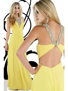 Sheath/Column V-neck Chiffon Daffodil Long Prom Dresses/Evening Dress With Beading #USAZT087