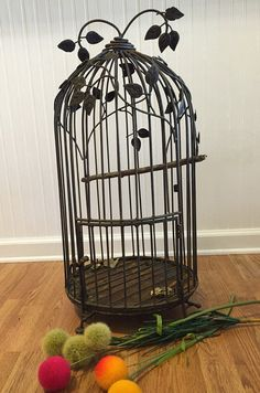 CAST IRON BIRDCAGE Large Birdcage Vintage Bird Cage  Wedding Birdcage  Vintage Halloween  Antique Bird Cage Romantic Home at Ageless Alchemy