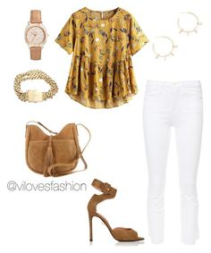 """""""Sin título #781"""" by viviana-auricchio-g on Polyvore featuring moda, Frame, Samuele Failli, Justine Clenquet, Lucky Brand y FOSSIL"""