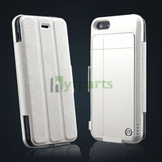 White 2600 mAh Rechargeable External Battery PU Case Power Pack with USB Cable for iPhone 5