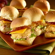 Chicken nugget sliders -- brilliant! I'm going to make these with Hawaiian Bread rolls.