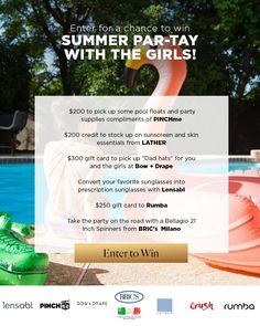 Win a Summer Par-Tay with the Girls – Ends August 16th #sweepstakes https://www.goldengoosegiveaways.com/win-summer-par-tay-girls-ends-august-16th?utm_content=buffer67e84&utm_medium=social&utm_source=pinterest.com&utm_campaign=buffer
