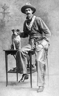 Old West cowboy with his dog Old West Photos, Antique Photos, Vintage Pictures, Vintage Photographs, Old Pictures, Vintage Images, Jack Russell Terriers, Postcard Album, The Lone Ranger