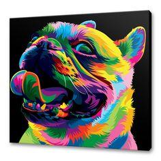 Pug by wahyu r dog vector, vector art, art pop, color vector, dog illustrat Colorful Animal Paintings, Colorful Animals, Dog Vector, Vector Art, Animal Drawings, Art Drawings, Ciel Pastel, Tableau Pop Art, New Retro Wave