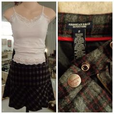 """EdGy School Girl Formal Wool Plaid Skirt 29""""x14.5"""" Made by: AE Size 2 True Measurements: Laid flat across Waist 14.5"""" Adjustable in the back (can be made smaller) Waist to Hem 14.5"""" Left side 4"""" zipper for closure. Zipper pull has a satin zipper tassel. Logo on the steel snap closure. Chunky boxed cut design material allowing plaid to run different ways. Fabulous rough edge cut hem. This skirt is Wool/Nylon/Poly/Acrylic Blend, Fully lined. I have always washed this in my gentle cycle…"""
