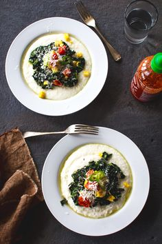 garlic sautéed kale with corn and cheesy grits.