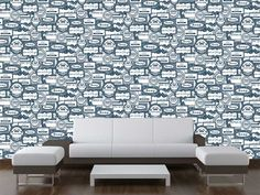 Soap wallpaper design by Lollie Dunbar, available at Wallpapered.com