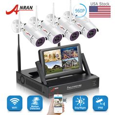 4fb3e349c43 4CH Wireless Security Camera System with DVR kits 7 Monitor Home  Surveillance Wireless Security Camera System