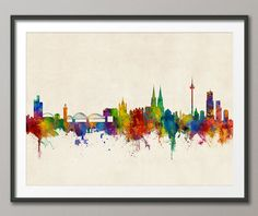 Cologne Skyline, Koln Germany Cityscape Art Print (2810) by artPause on Etsy