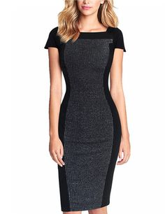YesFashion Women's Square Collar Fitted Short Sleeve Pencil Bodycon Stitching Dresses Black S - Yesfashion.com in Free Shipping