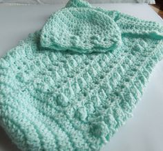 Baby Cocoon and Beanie Crocheted in Soft Aqua  by JunesLoomsEtc, $24.95