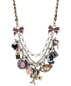 Betsey Johnson Necklace, Gold-Tone Glass Accent Multi-Charm Frontal Necklace - Fashion Jewelry - Jewelry & Watches - Macy's